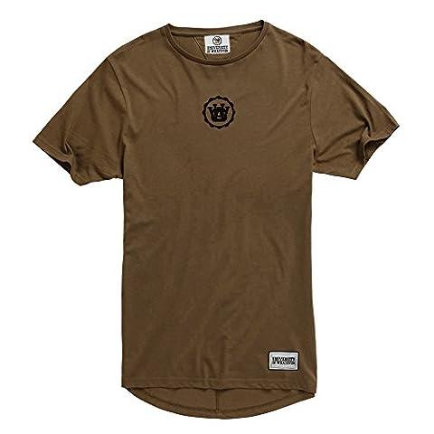 University of Whatever Herren T-Shirt mit verlängertem Rücken Khaki Large TSG99