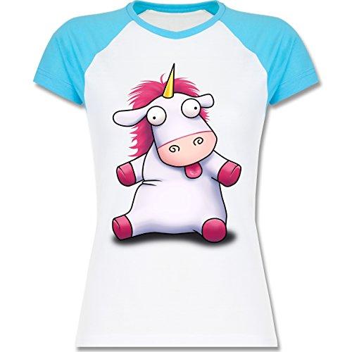 Shirtracer Einhörner - Süßes, Flauschiges Einhorn - Zweifarbiges Baseballshirt/Raglan T-Shirt für Damen Weiß/Türkis