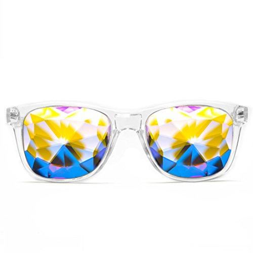 GloFX Herren Kaleidoskop Gläser - Rainbow EDM- Rave Lichtbeugung Einheitsgröße klar