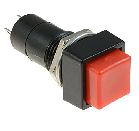 Red Square Actuator On/Off Latching Push Button Switch SPST