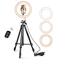 """10.2"""" Selfie Ring Light, Aureday 50"""" Extendable Tripod Stand with Phone Holder for Makeup & YouTube Live Stream, Dimmable LED Lightning with Remote Fits iPhone & Android Phone"""