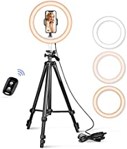 """10.2"""" Selfie Ring Light, Aureday 50"""" Extendable Tripod Stand with Phone Holder for Makeup & YouT"""