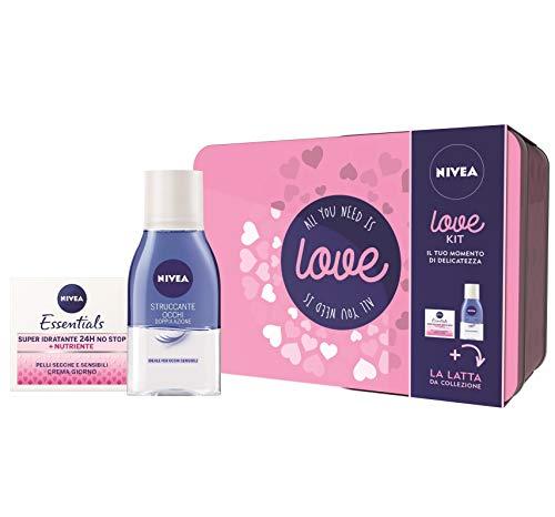 Nivea love kit set regalo donna con nivea essentials super idratante 24h no stop crema viso e nivea struccante occhi doppia azione bifase