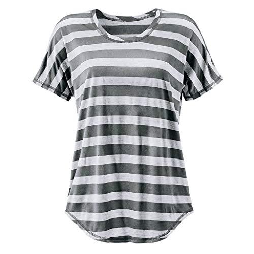 TWIFER Gestreift Sommer T Shirt Damen O Neck Kurzarm Gestreiftes Tee Shirt Top Bluse