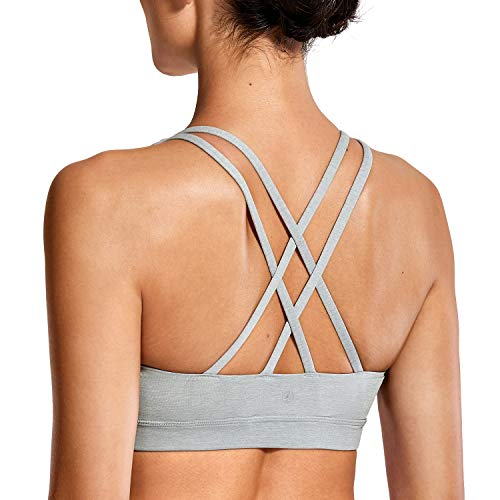 CRZ YOGA Donna Reggiseno Yoga Imbottito Supporto Criss Cross Back Heather Multi 3 XS