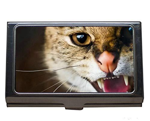 Visitenkartenetui für Visitenkartenetui Kreditkartenetui/Etui, Whiskers Wildcat Cat Edelstahl-Kartenhalter -