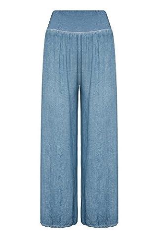 Damen Haremshose Aladinhose Hose Pluderhose Pumphose Stoff Sommer Casual, Farbe:jeans