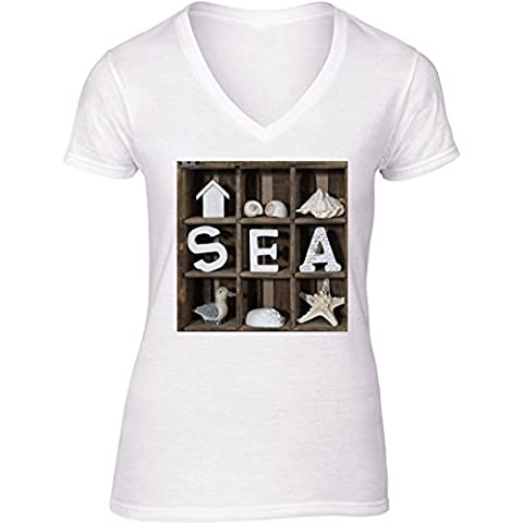 Camiseta V Cuello para Mujer - Colección De Mar by Andrea Haase
