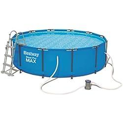 Bestway - Piscine hors sol ronde Steel Pro Max, diamètre 366 cm x hauteur 100 cm avec pompe de filtration et échelle de sécurité
