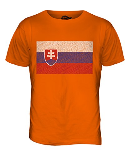 CandyMix Slowakei Kritzelte Flagge Herren T Shirt Orange