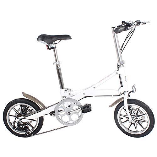 CCVL Faltfahrrad Erwachsene Kinder Ultraleicht Aluminiumlegierung Mini Tragbares Fahrrad Mit Variabler Geschwindigkeit Geeignet Für Reisen In Der Wilden Stadt,White,14in