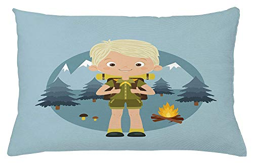 Icndpshorts Explore Throw Pillow Cushion Cover, Cartoon Boy Scout in The Forest with Mountains Trees Mushroom and Campfire Design, Decorative Square Accent Pillow Case, 18 X 18 Inches, Multicolor