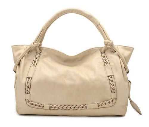 Ins Auge stechende Tasche in Lederoptik, Damenhandtasche, Schultertasche Nizza Chic, Unwiderstehlich Beige