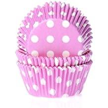 Muffinförmchen, rosa mit weißen Punkten, 50 Stück - Papierbackförmchen