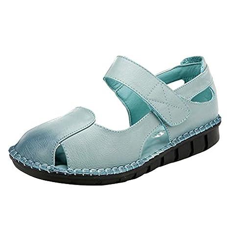 MatchLife Femmes Ballerines Décontractées Chaussures Basses Talon Epais-Bleu Clair-EU37 / CH38