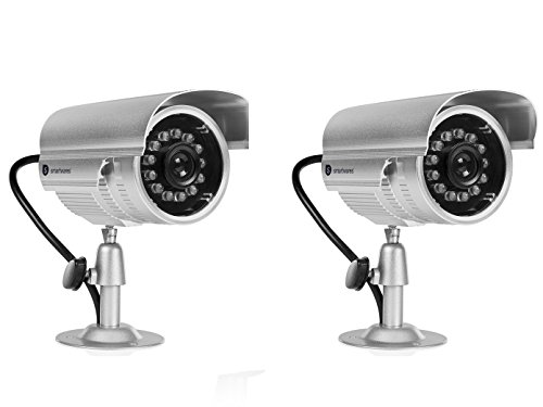 Kamera Attrappen Set Dummy Kameras mit Nachtsicht Infrarot LED, Batteriebetrieb