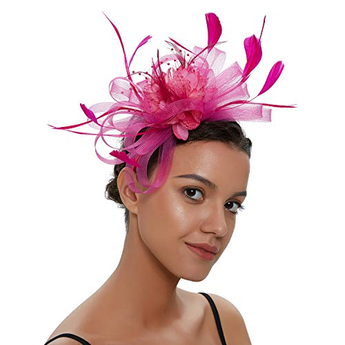 Kostüm Party Tea - Zivyes Fascinators Hut für Frauen Tea Party Stirnband Kostüm Zubehör Hochzeit Cocktail Blume Mesh Federn Haarspange (1-Rose)