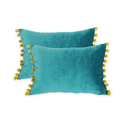 DOKOT Terciopelo Fundas de Almohada Soft Decorativa Fundas de Cojín Caso con Pompón para Sofá Dormitorio Auto 30 x 50 cm Teal 2 Piezas