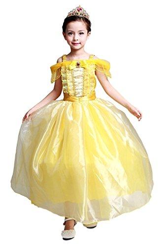 geniales disfraz vestido amarillo princesa mangas cortos de nias para cumpleaos carnaval fiesta cosplay halloween talla