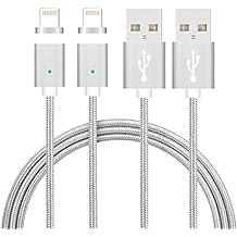 Cable Lightning magnético ,TUOYA USB magnético adaptador de cable cargador de Transmisión de Datos para el iPhone 5, 5c, 5s, SE, 6, 6 Plus, 6s, 6s Plus, 7, 7 Plus ([2xPaquete * Plata])