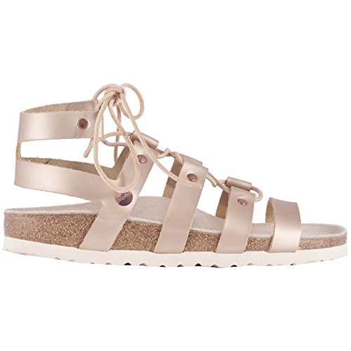 BIRKENSTOCK Papillio Womens by Cleo Frosted Metallic Rose Leather Sandals 38 EU -