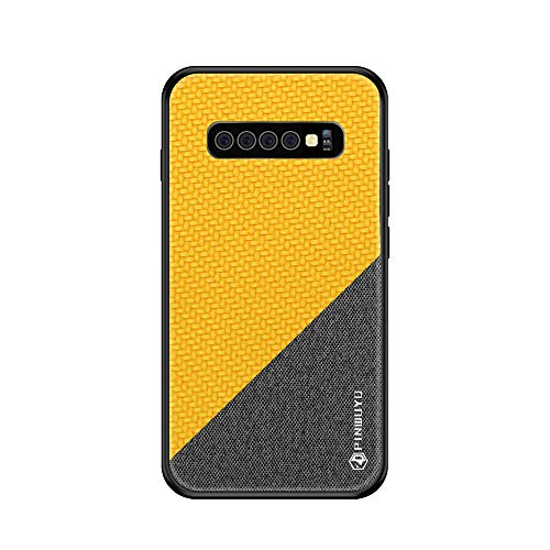 Riyeri Hülle Compatible with Samsung Galaxy S10 Plus Hülle Slim Hard PC Weicher Rand Silikonrahmen Cloth Craft Handy Schutz Schutzhülle für Samsung S10/S10e Cover 2019 (S10, Yellow 1) (Samsung Für 2 Case Handy)