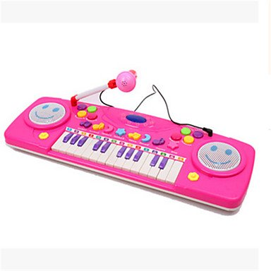 25 hhealth multifunktionale Lern ??Tastatur Vorschul Musik Erleuchtung mit Mikrofon ramdon Farbe (Prop Mikrofon)