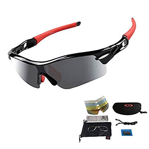 ANSKT Sport-Sonnenbrille Radsportbrille Sportbrille mit UV400 5 Ersatzgläsern inkl. Schwarz polarisierter Linse für Outdoor-Aktivitäten Radfahren Golf Unisex Rot