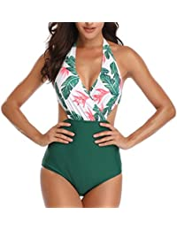 ab242c75325f3 Misolin Women Swimwear One Piece Swimsuit V-Neck Cut Out Halter Swimming  Costume ...