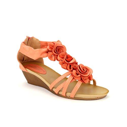 Cendriyon, Compensée Corail DIVINE MODE Chaussures Femme Corail
