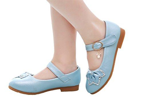 Brinny Princesse Ballerines basse-top métallique rose fleur Souple sole Fille cuir chaussures de mariage danse performance Bleu