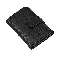 iMEX Mens Black Trifold NDM Genuine Leather Wallet