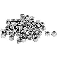 M3 Tuercas de seguridad de nylon - TOOGOO(R)M3 x 0,5 mm Tuerca de seguridad hexagonal inseto de nylon de acero inoxidable 50pzs