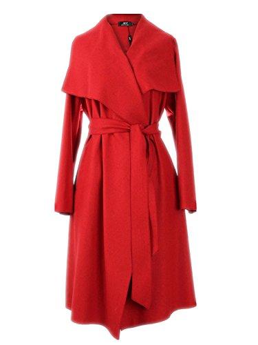 Fanessy Damen Herbst Trenchcoat Mantel Langärmlig Revers Jacke Outwear Rot