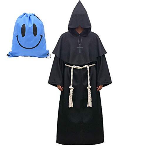 (Mönch Robe Kostüm Mönch Priester Gewand Kostüm mit Kapuze Mittelalterliche Kapuze Herren Mönchskutte (X-Large, Schwarz))