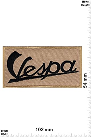 Patches - Vespa - brown black - Motor sports - Sports Motorcycle Vespa - Iron on Patch - Applique embroidery Écusson brodé Costume Cadeau- Give Away