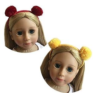 The New York Doll Collection D201 45 cm Dos Diademas con Pompones Amarillos y Rojos Juego de 2 para muñecas-Fits American Gir (6137319)