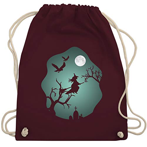 Halloween - Hexe Mond Grusel Grün - Unisize - Bordeauxrot - WM110 - Turnbeutel & Gym Bag