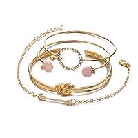 Ankidz 4Pcs/Set Women Beautiful Arrow Crystal Opening Bangle Bracelet Set Bracelets
