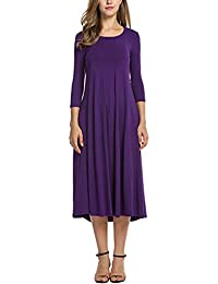 a1b868a1c0b Women s A-line Ruffle 3 4 Sleeve Casual Loose Round Neck Flared Midi Long