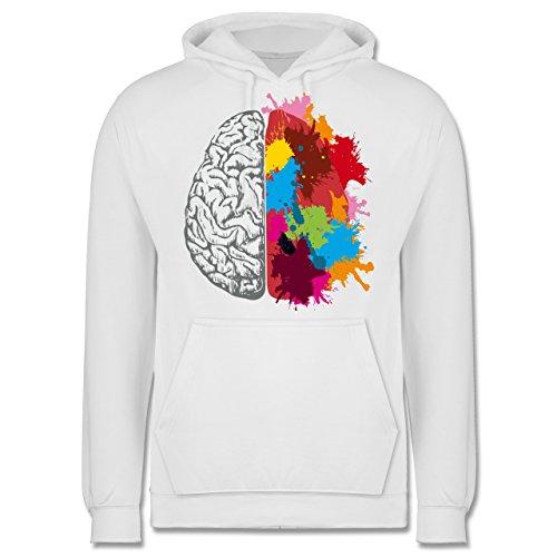 Boheme Look - Gehirnhälften grau & bunt - Männer Premium Kapuzenpullover / Hoodie Weiß