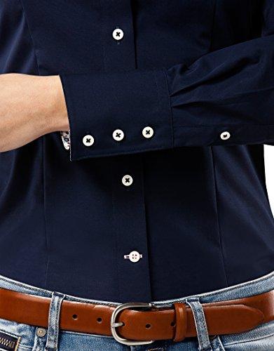 Vincenzo Boretti Damen Bluse Tailliert 100% Baumwolle Bügelfrei Langarm Hemdbluse Elegant Festlich Kent-Kragen Auch für Business und Unter Pullover Dunkelblau
