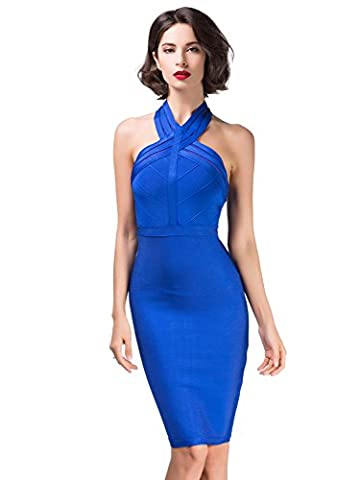 Alice & Elmer Damen Rayon Sleeveless Cross Halfter Backless Bodycon Bandage Evening Party Dress Abend Club Kleid Blau M