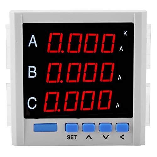 Dreiphasen AC Voltmeter Amperemeter, Digitalanzeige Strommesser Voltmeter Spannungsmesser (Weiß)