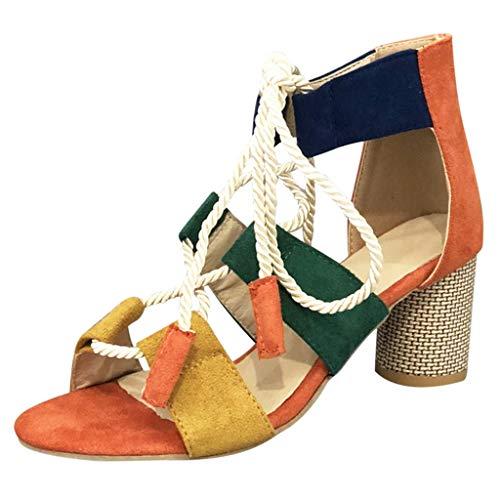 Kolylong® 2019 Sommer Schnürung Blockabsatz Sandalen Mode Wildlederoptik Farbblock Gladiator Sandalen Knöchelriemen Offener Zeh Hoher Absatz Pumps für Frauen