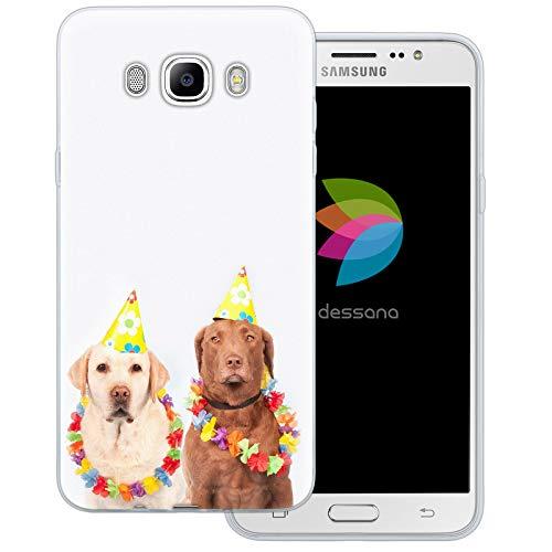 dessana Fasching Party transparente Schutzhülle Handy Case Cover Tasche für Samsung Galaxy J7 (2016) Kostüm Hunde