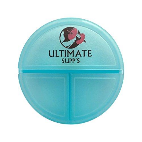 ULTIMATE Supp´s Pillendose - flache handliche Pillenbox für unterwegs / kleine Tablettenbox - Tablettendose mit 3 Fächern (Blau Fitness)
