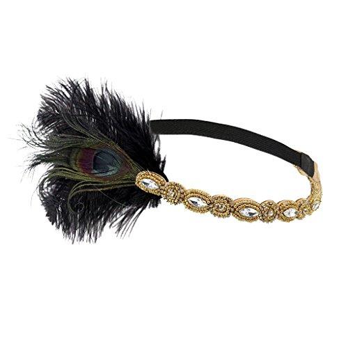 MagiDeal Frau Elastische Feder Stirnband Kette Haarband Haarschmuck Haar Tiara Vintage Mottoparty Kostüm - ()