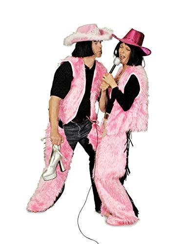 Pink Chaps mit schwarzen Fransen, Ladies, Plüsch