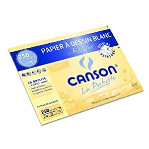 Canson - Pochette Academy, 8 feuilles blanches Grain atténué 250 g/m², 24 x 32cm - Spécial peinture